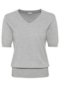 Szary sweter bonprix krótki, z krótkim rękawem, elegancki, melanż