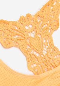 Born2be - Pomarańczowy Biustonosz Xelalin. Kolor: pomarańczowy. Materiał: koronka. Rodzaj stanika: wyciągane miseczki. Wzór: gładki, koronka, aplikacja