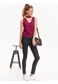 Fioletowa bluzka TROLL na zimę, z dekoltem w serek, na imprezę, w kolorowe wzory #6