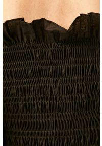 Czarna sukienka ANSWEAR z dekoltem karo, z długim rękawem