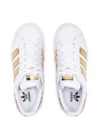 Adidas - Buty adidas - Superstar Bold W FY3653 Ftwwht/Ftwwht/Supcol. Zapięcie: sznurówki. Kolor: biały. Materiał: skóra. Szerokość cholewki: normalna. Wzór: kwiaty, kolorowy. Obcas: na platformie. Styl: klasyczny