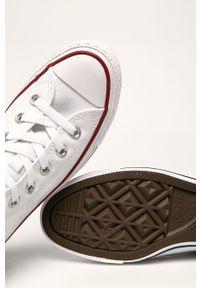 Białe tenisówki Converse na średnim obcasie, z cholewką, z okrągłym noskiem