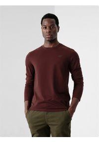 4f - Longsleeve regular męski. Kolor: czerwony. Materiał: bawełna, dzianina. Długość rękawa: długi rękaw