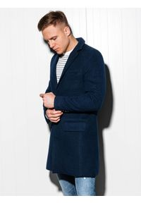 Niebieski płaszcz Ombre Clothing na wiosnę, elegancki