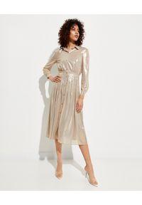 Pinko - PINKO - Beżowa sukienka z połyskiem Grullo. Kolor: beżowy. Długość rękawa: długi rękaw. Styl: glamour, elegancki. Długość: midi