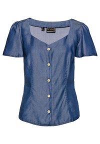 """Koszula dżinsowa, TENCEL™ Lyocell, krótki rękaw bonprix niebieski """"stone"""". Kolor: niebieski. Materiał: lyocell. Długość rękawa: krótki rękaw. Długość: krótkie. Styl: elegancki"""