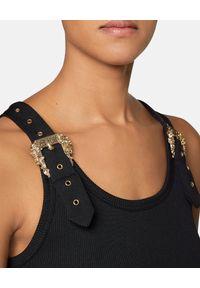 Czarna sukienka VERSACE na ramiączkach, klasyczna, midi, z aplikacjami