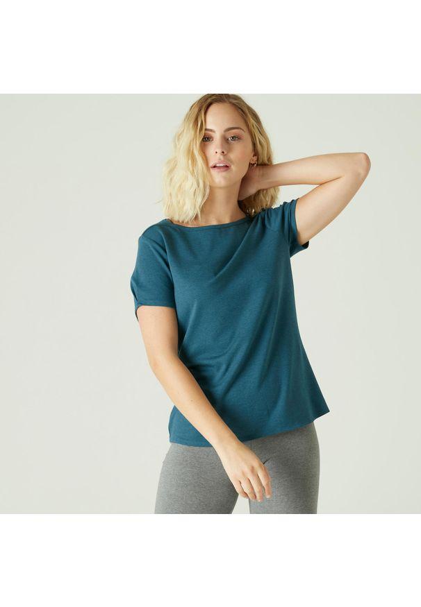NYAMBA - Koszulka krótki rękaw fitness. Kolor: niebieski, wielokolorowy, turkusowy. Materiał: elastan, poliester, materiał, lyocell, bawełna. Długość rękawa: krótki rękaw. Długość: krótkie. Wzór: ze splotem. Sport: fitness, joga i pilates