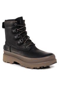 Czarne buty zimowe sorel z cholewką, street