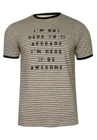 Pako Jeans - Beżowo-Czarny Bawełniany T-Shirt -PAKO JEANS- Męski, Okrągły Dekolt, Krótki Rękaw, w Paski. Okazja: na co dzień. Kolor: beżowy, brązowy, wielokolorowy. Materiał: bawełna. Długość rękawa: krótki rękaw. Długość: krótkie. Wzór: paski, prążki. Styl: casual