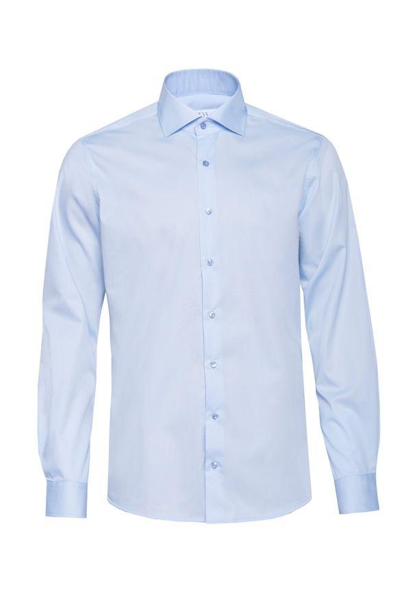 Niebieska koszula VEVA z włoskim kołnierzykiem, długa, klasyczna, na spotkanie biznesowe