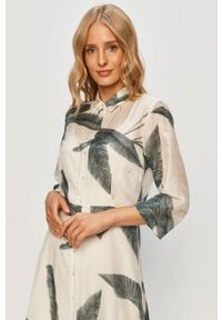 Kremowa sukienka only na co dzień, midi, rozkloszowana