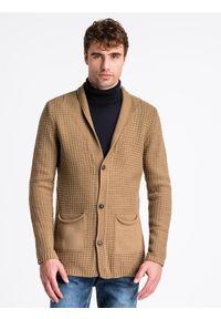 Brązowy sweter Ombre Clothing z aplikacjami, na jesień