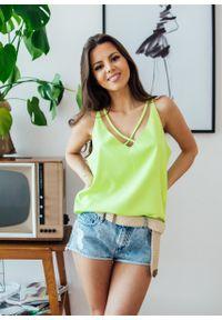 Żółta bluzka Fanaberia.com w kolorowe wzory, na imprezę, na lato
