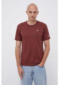Champion - T-shirt bawełniany. Okazja: na co dzień. Kolor: brązowy. Materiał: bawełna. Wzór: gładki, aplikacja. Styl: casual