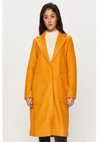 Żółty płaszcz only na co dzień, klasyczny, z klasycznym kołnierzykiem