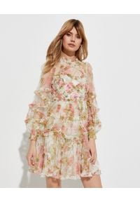 NEEDLE & THREAD - Sukienka mini Harlequin Rose Ruffle. Typ kołnierza: kołnierz z falbankami. Kolor: beżowy. Materiał: tiul, materiał. Wzór: nadruk, aplikacja. Długość: mini
