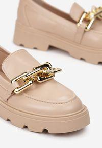 Born2be - Beżowe Mokasyny Egothee. Nosek buta: okrągły. Zapięcie: bez zapięcia. Kolor: beżowy. Materiał: jeans. Wzór: gładki. Obcas: na platformie