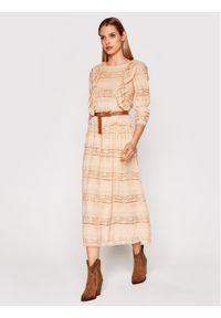 Beżowa sukienka casualowa, na co dzień