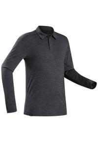 FORCLAZ - Koszulka Polo z długim rękawem - TRAVEL 500 merino - męska. Typ kołnierza: polo. Kolor: czarny. Materiał: wełna, akryl, materiał, poliamid. Długość rękawa: długi rękaw. Długość: długie