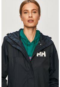 Niebieska kurtka Helly Hansen na co dzień, z kapturem, z nadrukiem, casualowa