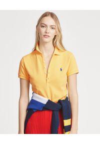 Ralph Lauren - RALPH LAUREN - Koszulka Polo Slim Fit. Typ kołnierza: polo. Kolor: żółty. Materiał: bawełna, materiał. Wzór: haft, aplikacja