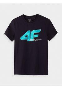 Niebieski t-shirt 4f z nadrukiem