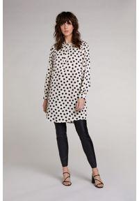 Sukienka / tunika w kropki Oui. Kolor: biały. Materiał: wiskoza. Długość rękawa: długi rękaw. Wzór: kropki. Typ sukienki: proste. Długość: mini