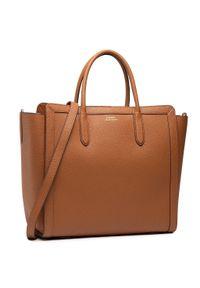 Brązowa torebka klasyczna Lauren Ralph Lauren skórzana, z aplikacjami