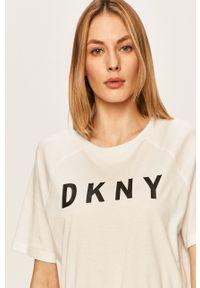 Biała bluzka DKNY z nadrukiem, na co dzień, casualowa