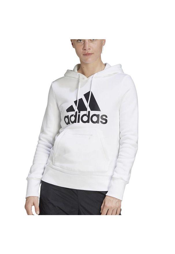 Biała bluza Adidas z kapturem, z aplikacjami