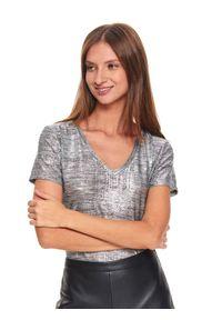 Srebrny t-shirt TOP SECRET z krótkim rękawem, z dekoltem w serek, na co dzień