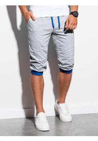 Ombre Clothing - Krótkie spodenki męskie dresowe P29 - szaro-niebieskie - XXL. Kolor: szary. Materiał: dresówka. Długość: krótkie. Styl: klasyczny