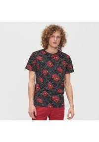Szary t-shirt Cropp w kwiaty