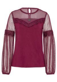 Fioletowa bluzka bonprix w koronkowe wzory, długa, z długim rękawem