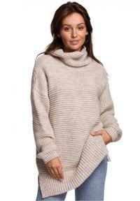 Sweter z długim rękawem, długi, z golfem