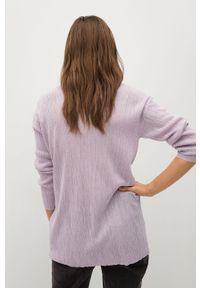 Fioletowy sweter rozpinany mango na co dzień, z długim rękawem, casualowy, gładki