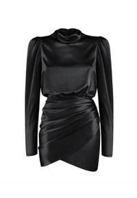 SELF LOVE - Jedwabna sukienka Cannes. Kolor: czarny. Materiał: jedwab. Typ sukienki: dopasowane, kopertowe. Styl: elegancki. Długość: mini
