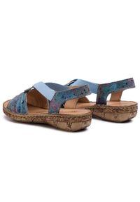 Niebieskie sandały Comfortabel na obcasie, na średnim obcasie