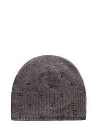 Szara czapka Granadilla na zimę, klasyczna, w kolorowe wzory