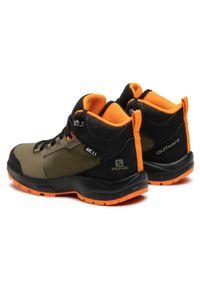 Zielone buty trekkingowe salomon z cholewką, z aplikacjami