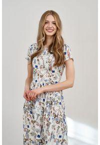 Marie Zélie - Sukienka Melania Aurantia kremowa. Kolor: kremowy. Materiał: wiskoza, skóra. Długość rękawa: krótki rękaw
