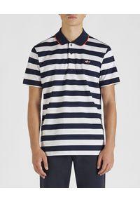 PAUL & SHARK - Koszulka polo w pasy. Typ kołnierza: polo. Kolor: biały. Materiał: bawełna. Wzór: aplikacja. Styl: wakacyjny