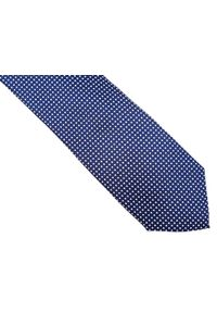 Modini - Granatowy krawat w białe kropki D169. Kolor: niebieski, biały, wielokolorowy. Materiał: tkanina, mikrofibra. Wzór: kropki
