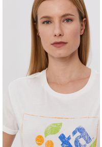 Kremowa bluzka Jacqueline de Yong z nadrukiem, casualowa, na co dzień