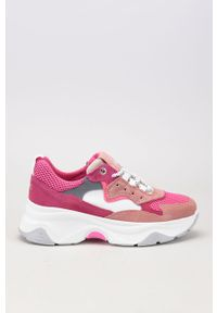 Różowe buty sportowe GOE z cholewką, na sznurówki