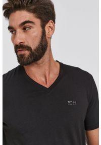 BOSS - Boss - T-shirt bawełniany. Okazja: na co dzień. Kolor: czarny. Materiał: bawełna. Wzór: gładki. Styl: casual