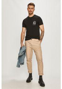Armani Exchange - T-shirt. Okazja: na co dzień. Kolor: czarny. Wzór: nadruk. Styl: casual