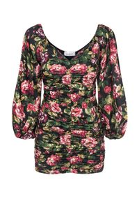 LOVE & ROSE - Sukienka w kwiaty Endless Flowers. Typ kołnierza: dekolt gorset. Kolor: czarny. Materiał: tkanina. Wzór: kwiaty. Sezon: jesień. Typ sukienki: dopasowane, gorsetowe. Długość: mini