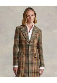 Ralph Lauren - RALPH LAUREN - Wełniany płaszcz w kratę. Typ kołnierza: polo. Kolor: brązowy. Materiał: wełna. Styl: klasyczny